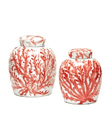 Coral Covered Jars, Set of 2