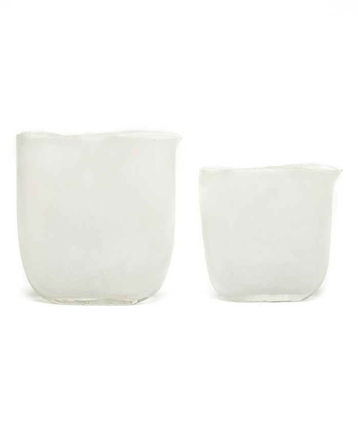 Two's Company - Ellipse Set of 2 White Frosted Vases