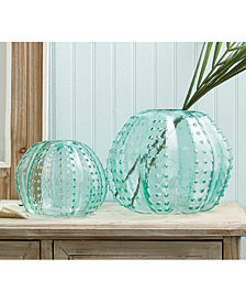 Set of 2 Sea Urchin Art Glass Vases Includes 2 Sizes