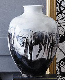 Large Hand Painted Horse Landscape Jar