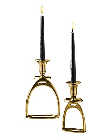 Two's Company Stirrup Antique Gold Tapered Candle Holders, Set of 2
