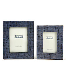 Midnight Blue Set of 2 Shimmering Photo Frames with Herringbone Pattern Includes 2 Sizes