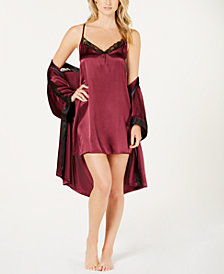 Linea Donatella Sets To Go Satin Chemise & Wrap Robe