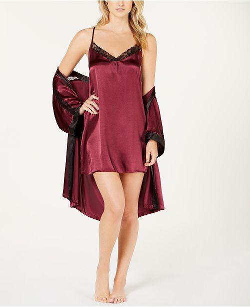 253950f7620 Linea Donatella Sets To Go Satin Chemise Nightgown   Wrap Robe ...