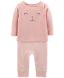 Carter's Baby Girls Layered-Look Kitty-Cat Coverall