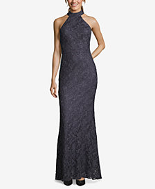 Betsy & Adam Glitter Lace Halter Gown