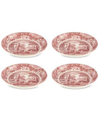 Cranberry Italian Pasta Bowls, Set of 4