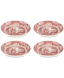 Spode Cranberry Italian Pasta Bowls, Set of 4