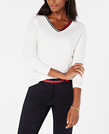 Tommy Hilfiger Cotton Striped-Neck Sweater, Created for Macy's