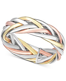 Tricolor Braided Statement Ring in 14k Gold, White Gold & Rose Gold