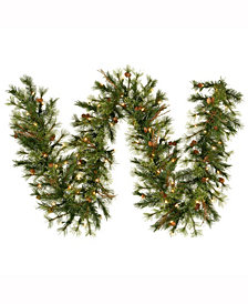 9' Mixed Country Pine Artificial Christmas Garland with Dura-Lit UL 100 Clear Lights