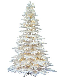 6.5' Flocked White Spruce Artificial Christmas Tree with 650 Warm White LED Lights