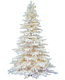 Vickerman 6.5' Flocked White Spruce Artificial Christmas Tree with 650 Warm White LED Lights