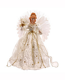 "18"" White-Gold Lit Angel Christmas Tree Topper"