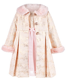 Blueberi Boulevard Little Girls 2-Pc. Brocade Coat & Dress Set