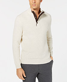 Tasso Elba Men's Supima® Mock-Neck Textured Sweater, Created for Macy's