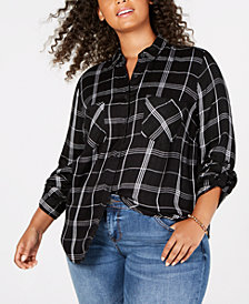 Lucky Brand Trendy Plus Size Plaid Boyfriend Shirt