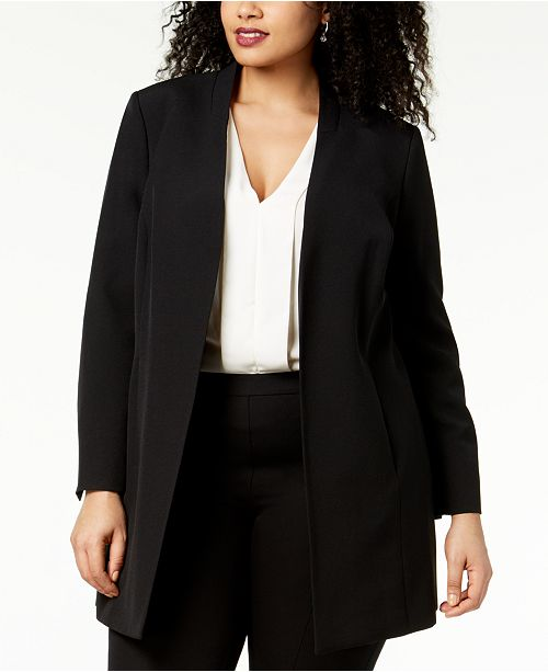 Kasper Plus Size Open-Front Topper Jacket