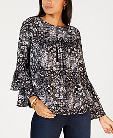 MICHAEL Michael Kors Tiered-Sleeve Printed Top