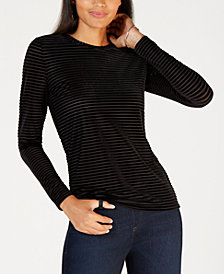 MICHAEL Michael Kors Shadow Striped Velvet Top, In Regular & Petites