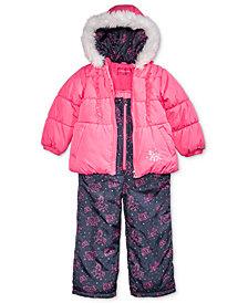 London Fog Little Girls Hooded Unicorn Snowsuit with Faux-Fur Trim
