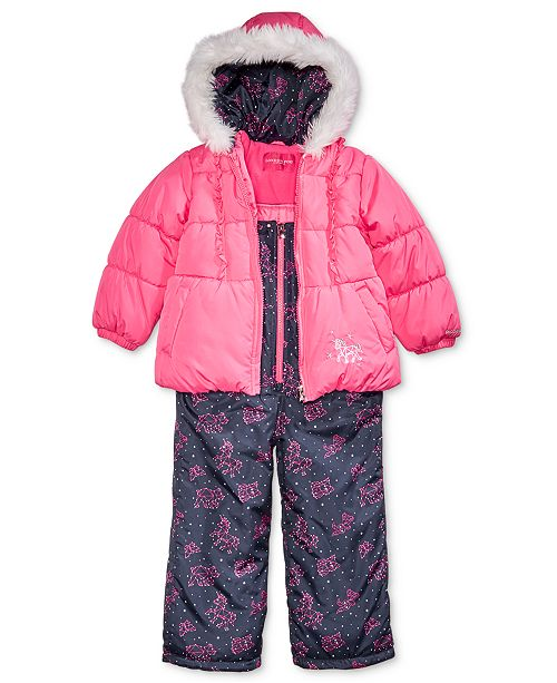 8e397c43804f London Fog Toddler Girls Hooded Unicorn Snowsuit with Faux-Fur ...