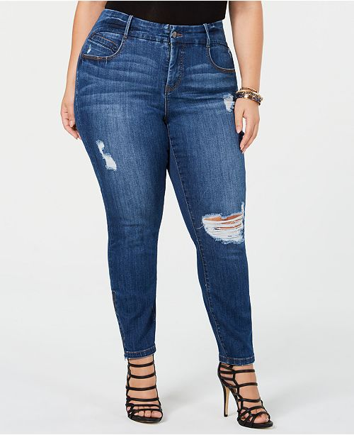 7bbb529e49f YSJ Plus Size Distressed Skinny Zip-Ankle Jeans