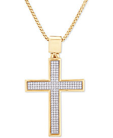 "Diamond Cross 22"" Pendant Necklace (1/2 ct. t.w.) in 14k Gold-Plated Sterling Silver"