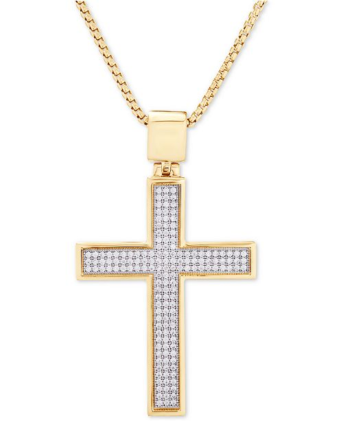 "Macy's Diamond Cross 22"" Pendant Necklace (1/2 ct. t.w.) in 14k Gold-Plated Sterling Silver"