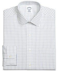 Brooks Brothers Men's Regent Slim-Fit Non-Iron Windowpane Pinpoint Blue Dress Shirt