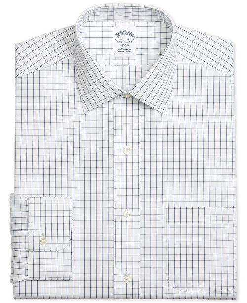 Brooks Brothers Men's Regent Slim-Fit Non-Iron Windowpane Pinpoint Blue Dress Shirt
