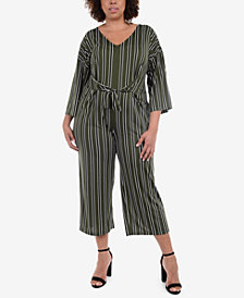NY Collection Plus Size Striped Jumpsuit