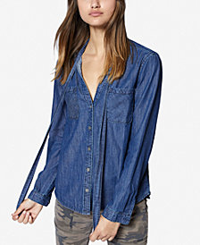 Sanctuary Cotton Tie-Neck Denim Shirt