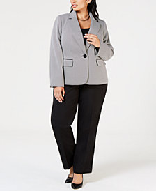 Le Suit Plus Size One-Button Textured Jacket Pantsuit