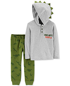 Carter's Toddler Boys 2-Pc. Dino Hooded Cotton Shirt & Joggers Set