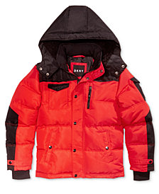 DKNY Big Boys Hooded Colorblocked Bubble Coat