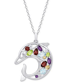 "Multi-Gemstone Openwork Dolphin 18"" Pendant Necklace (2-1/8 ct. t.w.) in Sterling Silver"