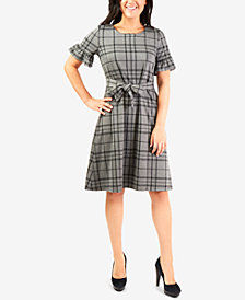 NY Collection Plaid Tie-Front Flounce-Sleeve Dress