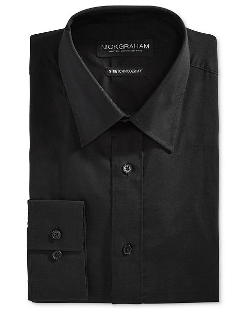 Nick Graham Men's Fitted Stretch Solid Dress Shirt