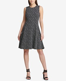 DKNY Tweed Fit & Flare Dress, Created for Macy's