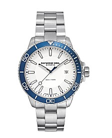 LIMITED EDITION RAYMOND WEIL  Men's Swiss Tango 300 Stainless Steel Bracelet Watch 42mm, Created for Macy's - A Limited Edition