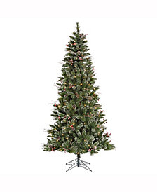 7' Snow Tipped Pine and Berry Artificial Christmas Tree with 350 Clear Lights