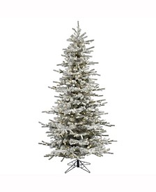 7.5' Flocked Sierra Fir Slim Artificial Christmas Tree with 700 Warm White LED Lights