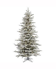 Vickerman 7.5' Flocked Sierra Fir Slim Artificial Christmas Tree with 700 Warm White LED Lights