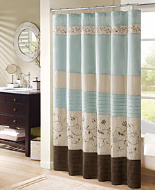 "Madison Park Serene 72"" x 72"" Faux Silk Embroidered Floral Shower Curtain"