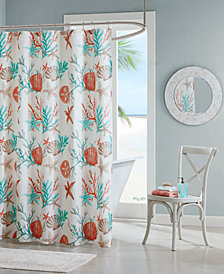 "Madison Park Pebble Beach 72"" x 72"" Cotton Printed Shower Curtain"