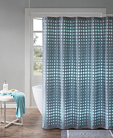 "Madison Park Essentials Venus 72"" x 72"" Faux Silk Laser Cut Circle Contrast Shower Curtain"