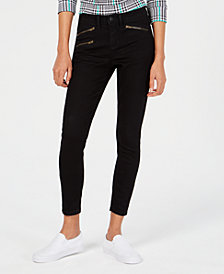 Vanilla Star Juniors' Moto-Zip High-Rise Skinny Jeans