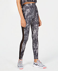 Material Girl Active Juniors' Mesh-Panel Printed Leggings, Created for Macy's