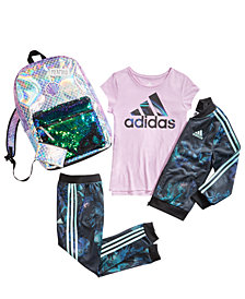 adidas Big Girls Tricot Jacket, Logo-Print T-Shirt, Tricot Pants & FAB Sequin Backpack